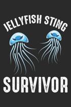 Jellyfish Sting Survivor: Scuba Diver Wortspiel Notizbuch gepunktet DIN A5 - 120 Seiten f�r Notizen, Zeichnungen, Formeln - Organizer Schreibhef