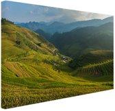 Rijstvelden Bali Canvas 180x120 cm - Foto print op Canvas schilderij (Wanddecoratie woonkamer / slaapkamer) XXL / Groot formaat!