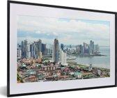 Foto in lijst - Uitzicht over Panama Stad fotolijst zwart met witte passe-partout 60x40 cm - Poster in lijst (Wanddecoratie woonkamer / slaapkamer)