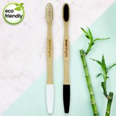 Bamboe tandenborstels - 2 stuks   Everbright. YOU & ME bamboo tandenborstels   100% Bamboe tandenborstel   Charcoal tandenborstels   Natuurlijke tandenborstel   Wittere tanden - Zacht/Medium