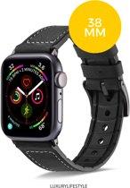 Apple Watch bandje 38 mm Leer - Zwart - iWatch series 1/2/3/4/5  38MM/40 MM - Inclusief Horloge Verkleiner