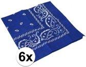 6x Blauwe boeren zakdoeken