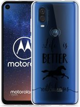 Motorola One Vision Hoesje Life is Better with Horses