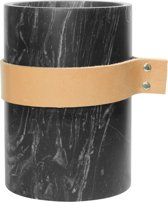 TAK Design Vaas Carlo M - Incl. Lederen Band - Marmer - 14 x 20 cm - Zwart