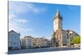Het Oude Stadsplein vroeg op de ochtend met een strak blauwe lucht Aluminium 90x60 cm - Foto print op Aluminium (metaal wanddecoratie)