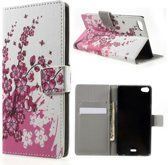 Pink plum print wallet case hoesje Huawei G Play Mini