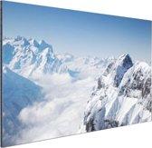 Berglandschap in de winter Aluminium 60x40 cm - Foto print op Aluminium (metaal wanddecoratie)