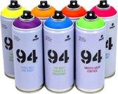 MTN94 Spuitbussen fluor pakket - 6 fluor kleuren + zwart en wit - Lage druk en matte afwerking spuitverf - Graffiti verf voor vele doeleinden zoals voor diy, klussen, graffiti, hobby en kunst