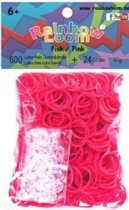 Loombandjes helder roze 600 stuks
