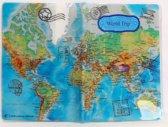 Paspoort hoesje / houder / etui, blauw, wereldkaart dessin