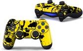 Verfspetters / Zwart met Geel - PS4 Controller Skins PlayStation Stickers