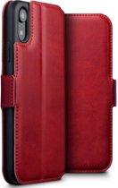 Hoesje voor Apple iPhone XR, echt lederen 3-in-1 bookcase, rood