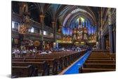 Het interieur van binnen van de Notre Dame in Parijs Aluminium 90x60 cm - Foto print op Aluminium (metaal wanddecoratie)