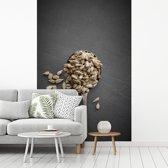 Fotobehang vinyl - Witte zonnebloempitten op een grijze oppervlakte breedte 150 cm x hoogte 220 cm - Foto print op behang (in 7 formaten beschikbaar)