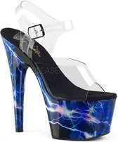 ADORE-708STORM (EU 39 = US 9) 7 Heel,2 3/4PF Ankle Strap Sandal w/Lightning Bolt Print