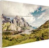 Berggebied Hout 80x60 cm - Foto print op Hout (Wanddecoratie)