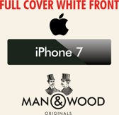 Man & Wood Full Cover diamant Screenprotector / Schermbescherming ECHT GEHARD GLAS - Apple iPhone 7 - WIT