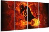 Glasschilderij Abstract | Oranje, Bruin, Zwart | 160x80cm 4Luik | Foto print op Glas |  F002888