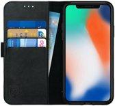 Rosso Apple iPhone X / iPhone XS Hoesje Echt Leer Pasjes Book Case Zwart | Ruimte voor twee pasjes | Opbergvakje voor briefgeld | Handige stand functie | Magneetsluiting