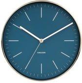Wall clock Minimal petrol blue, shiny gold case