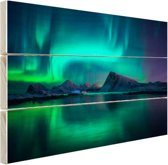 Noorderlicht bij de Lofoten in Noorwegen Hout 30x20 cm - Foto print op Hout (Wanddecoratie)