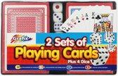 Set van 2 pak speelkaarten en 4 dobbelstenen