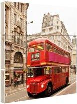 Rode dubbeldekker Londen Hout 20x30 cm - klein - Foto print op Hout (Wanddecoratie)