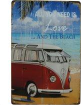 Retro Wandbord - Volkswagen bus bord - VW bus bord - Surf bord – Surf op het strand bord – Peacebus bord -  Metalen bord - Emaille Reclame bord - Wandborden - Mannen cadeau - Mancave Decoratie - Garage - Bar - Cafe - Restaurant Style