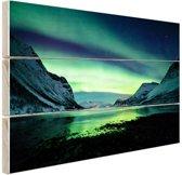 Ongelooflijke noorderlicht in Noorwegen Hout 120x80 cm - Foto print op Hout (Wanddecoratie)