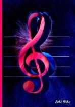 Ethi Pike - Hot Pink Treble Clef Notebook / Extended Lines / Soft Matte Cover