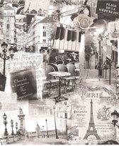 Home Parijs zwart/wit behang (vliesbehang, zwart-wit)