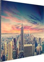 FotoCadeau.nl - Manhattan met bijzondere lucht Aluminium 90x60 cm - Foto print op Aluminium (metaal wanddecoratie)