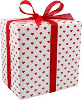 Cadeaupapier, 50cm, 200m, 70gr/m², Hearts, wit/Rood
