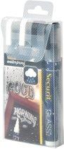 4x Securit Waterproof krijtmarker medium zwart/wit, blister met 4 stuks