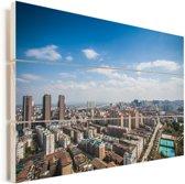Prachtige skyline van Fuzhou in China Vurenhout met planken 90x60 cm - Foto print op Hout (Wanddecoratie)