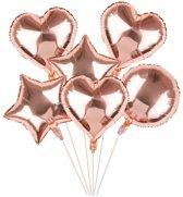 Folieballon - 6 stuks - Hart en Ster - Rose