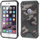 Camouflage Leren Hardcase TPU Hybrid Hoesje iPhone 6 / 6S - Leger Groen