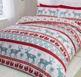 1 persoons dekbedovertrek kerst rood/grijs met rendieren FLANEL