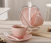 Relief Lace Bone China coffee cup&saucer set of 2 with cupstand Pink JD