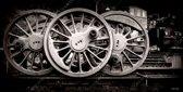 Stoom trein wielen in Nederland, de Veluwe in zwart wit, sepia | industrieel, staal, abstract, modern, sfeer | Foto schilderij print industrieel op canvas | 120x60cm