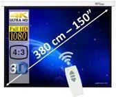 """Elektrisch Projectiescherm (4:3) met afstandsbediening - 150"""" - 3m80"""