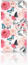 LG G7 Thinq Uniek Boekhoesje Butterfly Roses