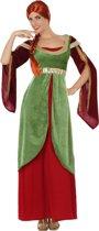 Groen-rood middeleeuws kostuum voor vrouwen - Verkleedkleding - M/L