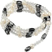 Zoetwater parel armband Pearl Clear Crystal Magnetite Wrap