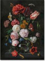 Jan Davidsz. de Heem - Stilleven met bloemen in een glazen vaas - 100x150cm Textielframe