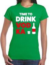Time to drink Vodka tekst t-shirt groen dames - dames shirt  Time to drink Vodka 2XL