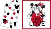 Disney Minnie Mouse Set Ovenwant + pannenlap True Love - 20x31cm + 20x20cm - Multi