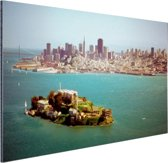 Alcatraz en de skyline van San Fransisco Aluminium 90x60 cm - Foto print op Aluminium (metaal wanddecoratie)