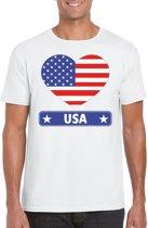 Amerika t-shirt met Amerikaanse vlag in hart wit heren L