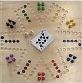 Spel Keezen de luxe - 4 tot 6 pers dubbelzijdig houten speelbord - keezenspel